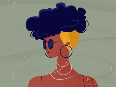 Curly cute color pastels curly hair afro hair tattoo artwork character concept digitalart charachter illustration afro curly