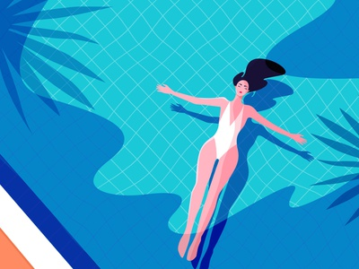 Pool Day color swimming pool vector cute palm swimming poolside pool flat design charachter digitalart illustration