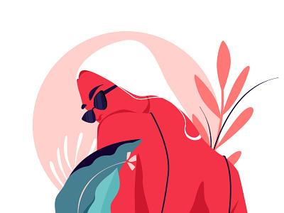 Summer Girl pink vocation savage character concept summer vibes looking summer is calling wild leaf flowers summer digitalart illustration
