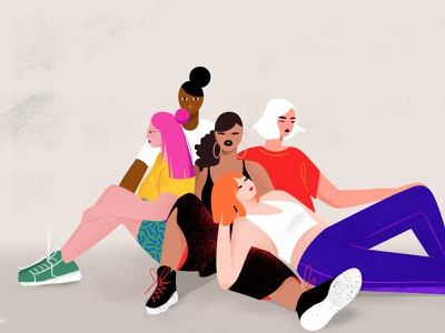 Girls people hands young sitting crowded red pink minimal women girls color flat design character concept charachter digitalart illustration