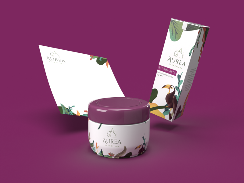 Aurea packaging products beauty cosmetics nature illustration brand packaging
