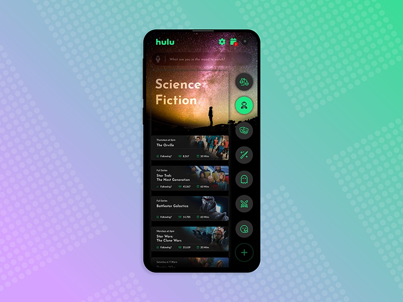 TV App Concept app apps application andriod iphone concept video app circle button television watch video black green ui