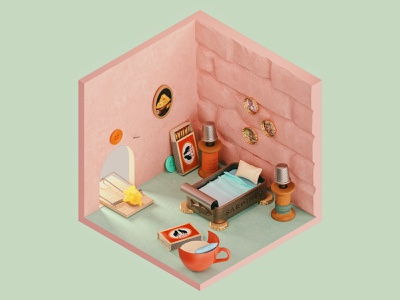 Jerry's Room from Tom and Jerry — The Rooms Project fanatasy miniature stayhome home cat mouse cartoon tom and jerry isolation quarantine rooms 3dart 3d render c4d cinema4d typography illustration