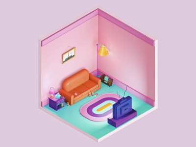 The Simpsons Living Room — The Rooms Project 3d artist office interior architecture room ux vintage animation cartoon simpsons isometric art isometric 3d ui illustration