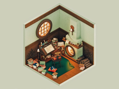Bilbo Baggin's Study The Hobbit — The Rooms Project freebie books 3d 3d art redshift3d trend inspiration isolation quarantine fanart redshift cinema4d the rooms project