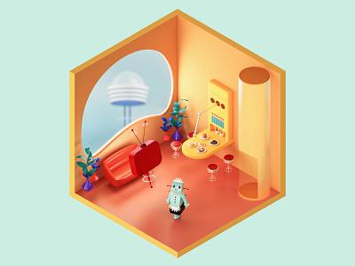 The Jetsons Living Room — The Rooms Project blender redshift c4d app vector illustration 3d logo identity branding