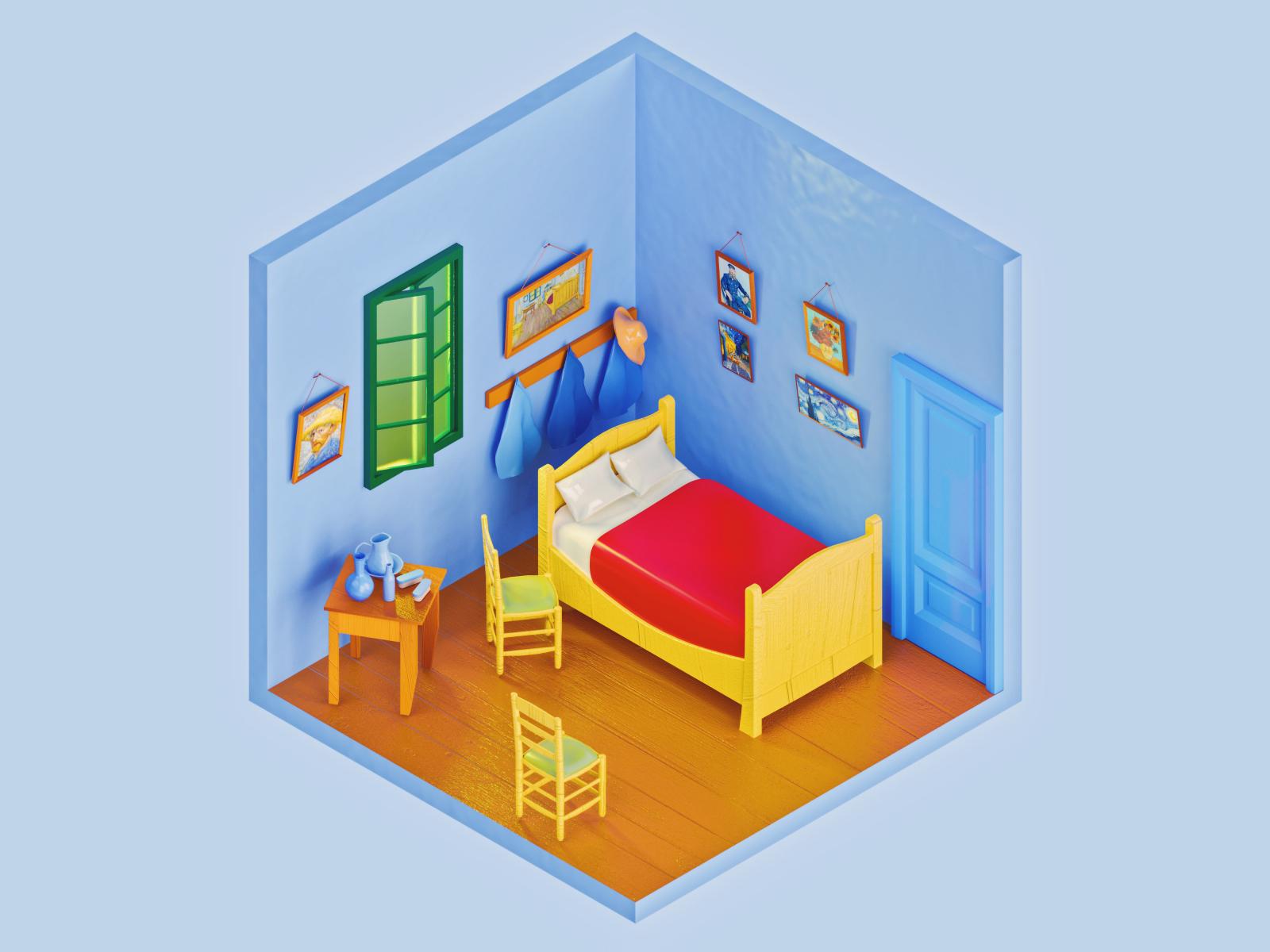 Vincent Van Gogh S Bedroom In Arles By Amrit Pal Singh On Dribbble,Kitchen Garden Window Shelf