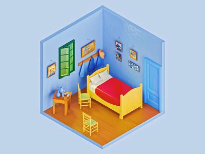 Vincent Van Gogh's Bedroom in Arles ui ux icon redshift vector logo illustration identity c4d branding blender app 3d