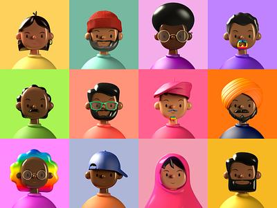Toy Faces Library | 3D Illustration | 3D Avatars 3d illustration mobile ui download freebie pride cinema4d portrait illustration avatar design profile avatars avatar icons uifaces avatar 3d ux ui