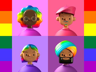 Toy Faces Celebrates Pride 🌈 3d illustration rainbow cute toy filters stickers profile contacts cinema4d 3d portrait mockups uiux ui avatars pride2020 pridemonth illustration pride toyfaces
