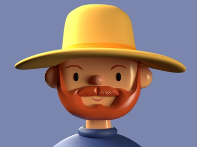 Vincent Van Gogh  | Toy Faces | 3D Illustration brand design branding abstract agume agume product cute artist app list plugin freebie toy faces character design van gogh ux ui illustraion 3d avatar