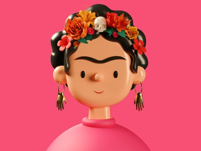 Frida Kahlo | Toy Faces Library | 3D Illustration caricature frida art symbol illustrator cinema4d c4d toy faces profile design avatars portrait 3d art 3d