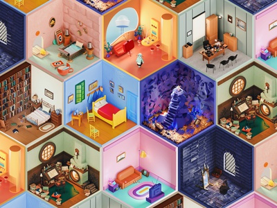3D Rooms Project | Free Zoom Backgrounds illustration isometric ux ui cinema4d 3d 3d art backgrounds zoom wallpaper freebie free