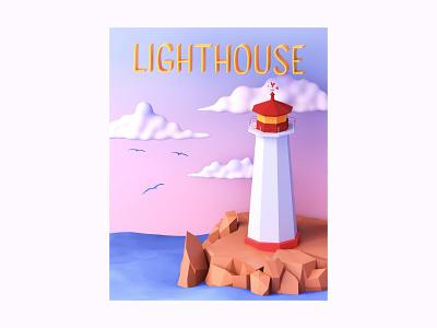 Lighthouse Postcard | 3D Illustration freebie isometric icon art c4dart 3d illustrator sea vintage travel retro lighthouse illustration 3d modeling 3d illustration cinema4d c4d 3d