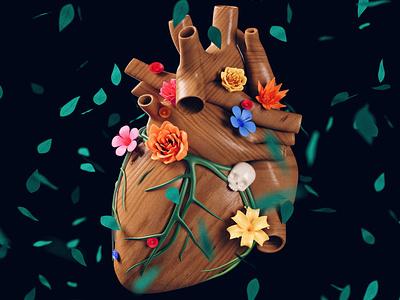 Love for Craft | Valentine's Day fridakahlo 3d illustrator cinema4d nature heart 3d art 3d valentines valentine valentine day