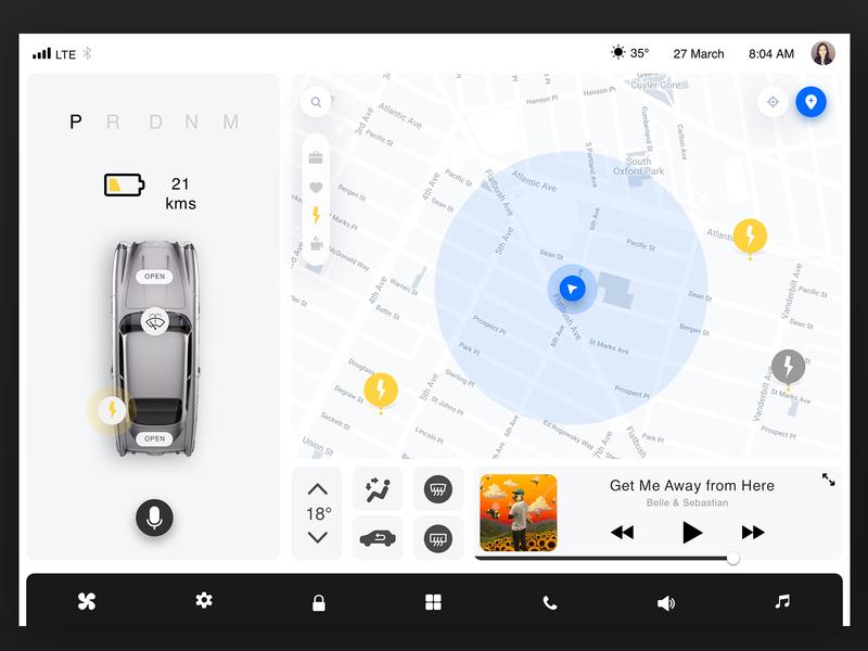 Car UI Dashboard gps location maps driver driving uber self-driving automotive tesla car ux ui