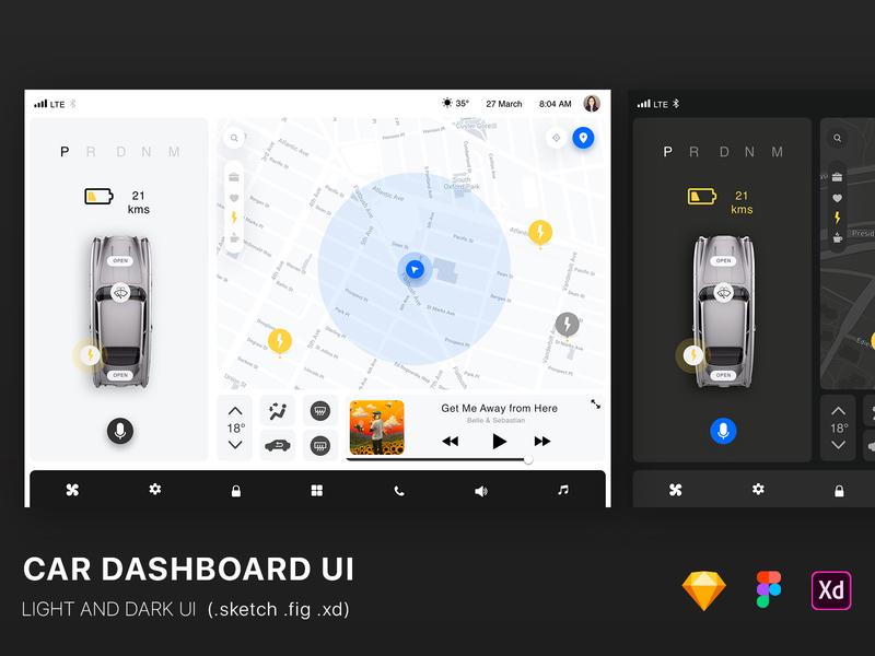 Car Dashboard  UI freebie clean uikit ui tesla automotive self-driving drive car