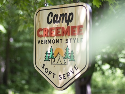 Camp CREEMEE Sign sun tent tree camp vermont soft serve ice cream painted handcrafted handmade minnesota outdoor logo cnc wood sign