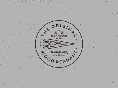 The Original Wood Pennant // Stamp stamp stitching north handmade circle wood pennant badge logo