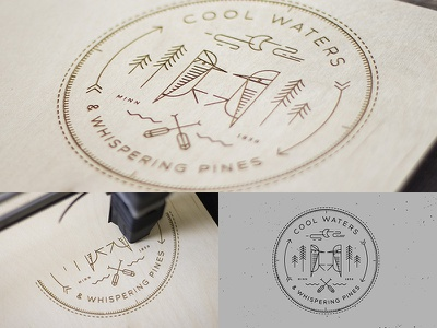 Cool Waters // Laser Cut north woodpecker banner paddles illustration outdoor badge cnc cut etch laser