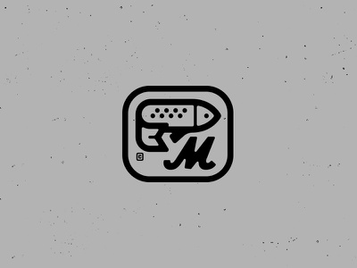 Fish Market Logo trout icon sign food square muskie m fish logo