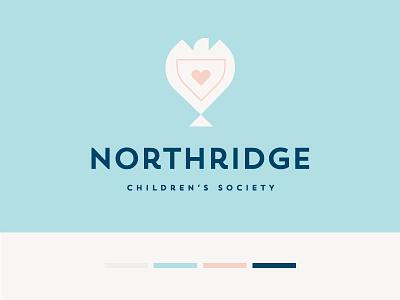 Children's Society Logo logotype safe protection child children blue orange coral geometric mark identity silhouette sky shield heart dove logo