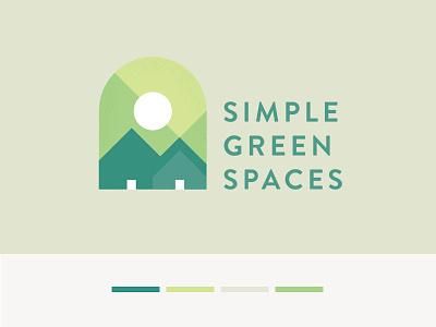 Simple Green Spaces Logo simple sun geometric modern high-efficiency craftsman home housing green identity logo