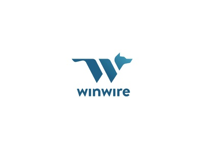 winwire Logo blue icon animal identity mark application app w wolf utah teams sales logo