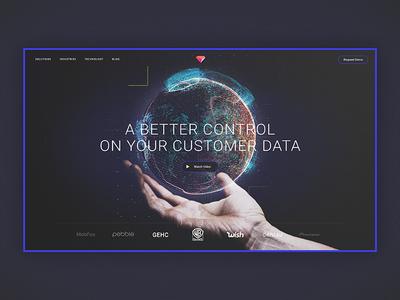Treasure's home page concept design. data home website