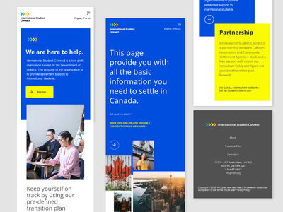 International Student Connect Mobile product design hifi responsive design interface uxdesign uidesign mobile