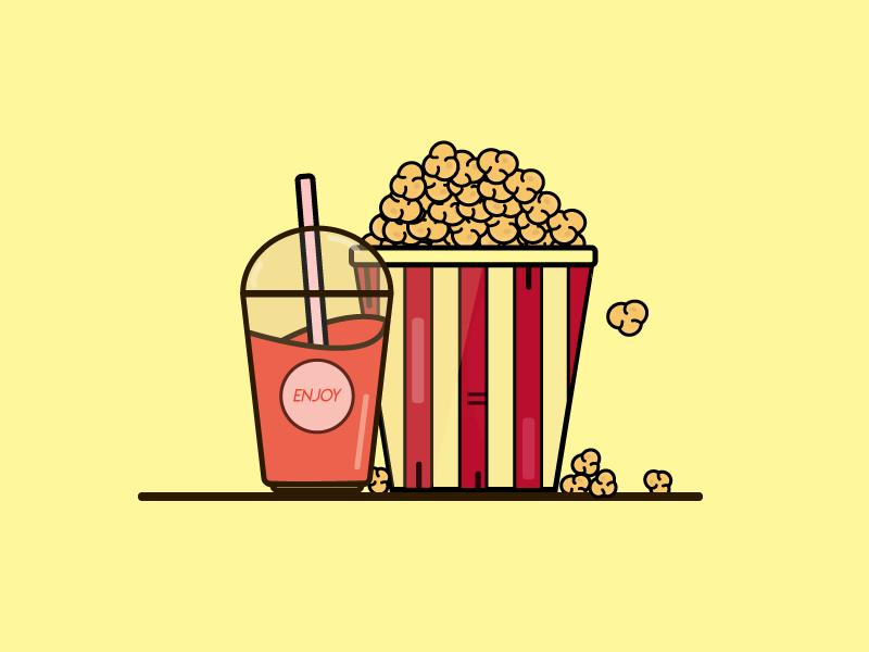 Ready For The Theater flat illustrator food adobe illustration