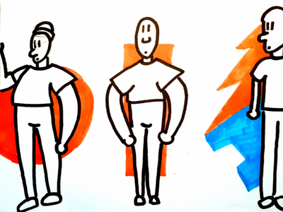 Characters for animation orange black and white persona character animated bold art visual ui design character design drawing animation