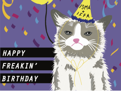 Birthday Card birthday card illustration vector grumpy cat