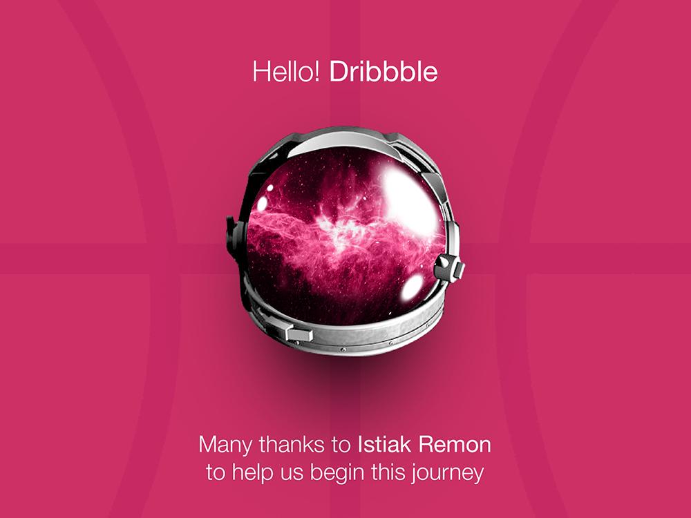 Hello! Dribbble bangladesh pixelomatic helmet astronut begins journey intro hello