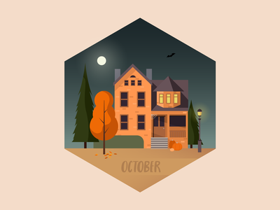 Trick-or-treat home trick-or-treat mad fish digital wallpaper night house north west fall orange halloween october design illustration