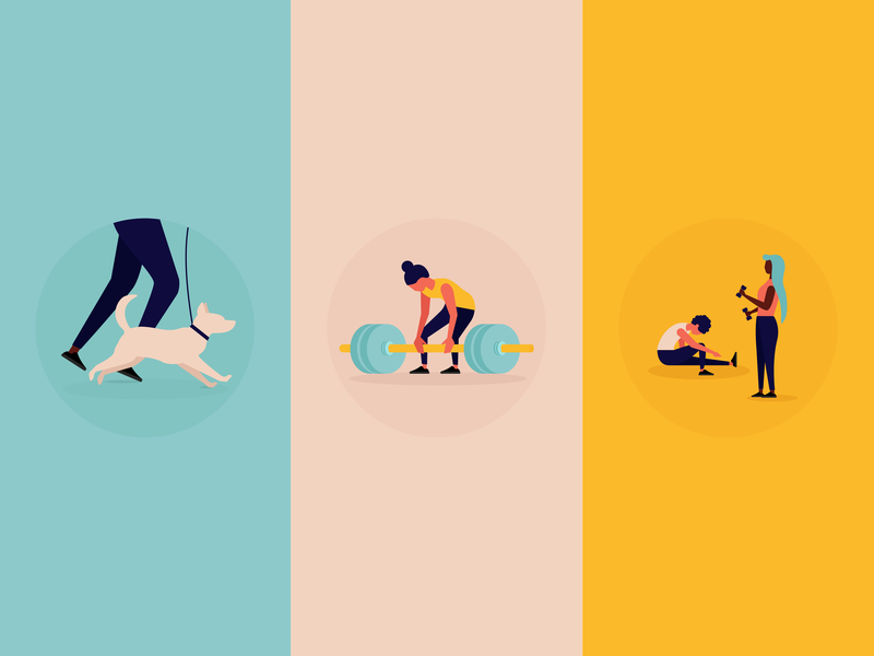 Exercise Illustrations icons lifting weightlifting run dog weight workout exercise infographic vector design mad fish digital illustration