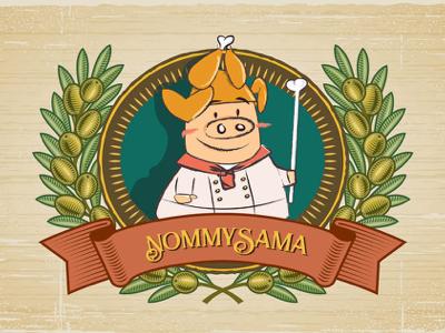 Nommysama food pig foodie logo