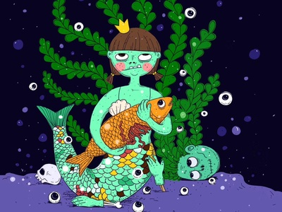Under the sea doodle illustration