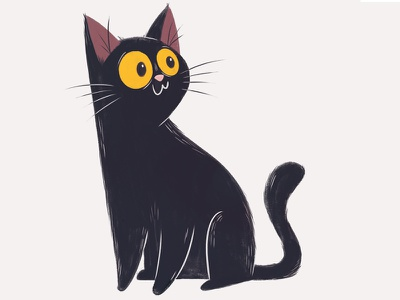 Black Cat kitty cat illustration black childrens illustration character design pet black cat cat illustration