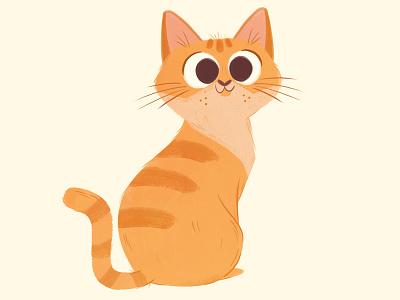 Orange Tabby Cat kitty painting tabby cat children illustration character design pet orange cat cat illustration