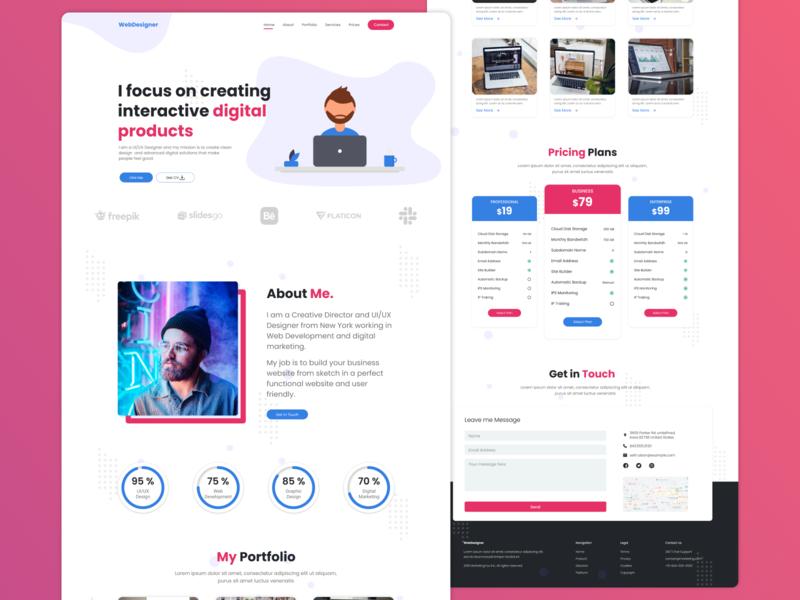 Personal Website illustration contact form website app ux uidesign ui figma simple design design