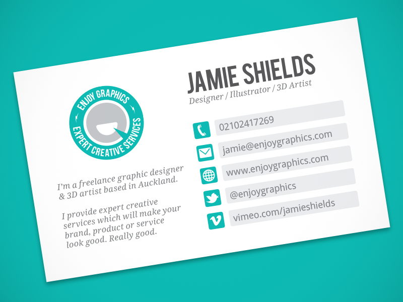 Enjoy Graphics Business Card by Jamie Shields - Dribbble