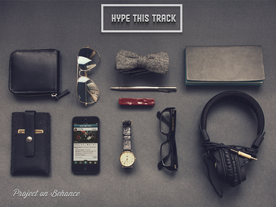 Promo app hype this track iphone promo madebyvadim photo topside sunglasses wallet case watch glasses headphones music bow tie note pan wax application share