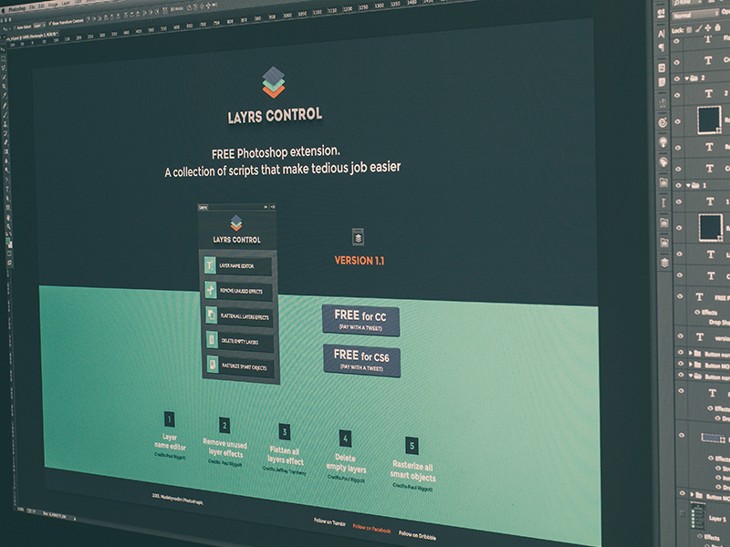 Layrs 1.1 PS extension (free) layrs extension panel layers control page plugin scripts free photoshop actions