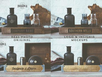 2 Free Logo Overlay Mock-Ups logo overlay mockup mock-up vintage hipster hip psd