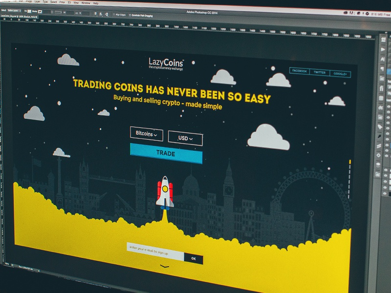 LazyCoins landing page landing website animations icons illustration bitcoins city london rocket promo bitcoin