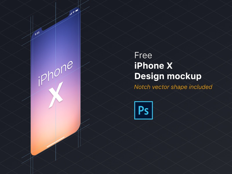 Free iPhone X design mockup (PSD) photoshop freebie file shape vector notch iphone design mockup free psd