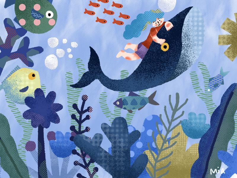 Udersea tour blue plant visual design illustrator illustraion artwork girl fish sea design