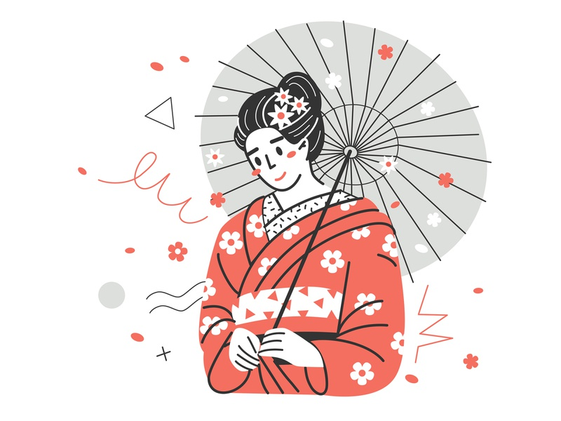 Japanese motives. portait design flat digital character cartoon vector illustration