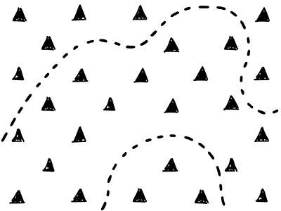 The Path illustration mountains path dotted line